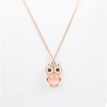 Short Necklace with Pearl Owl Charm