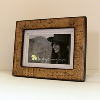 4x6 or 5x7 Photo Frame Parisian Burlap by JunebugsCC on Etsy