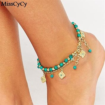 Lucky Kabbalah Fatima Hamsa Hand Blue Flowers Foot Jewelry Double Beads Turkish Ankle Bracelet For Women Anklet