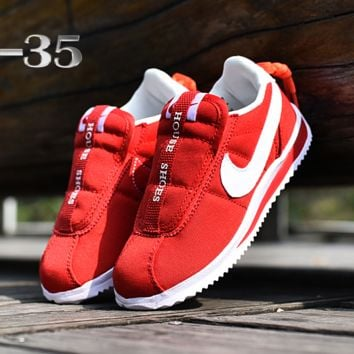 Kids Nike Classic Cortez Sneaker Casual Shoes Red