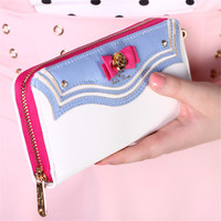 New Samantha Vega Sailor Moon Ladies Long Zipper Female Bag Women Brand Leather Kawaii Wallet Purse