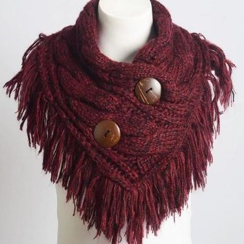 Beautiful Burgundy Infinity Scarf w/ Buttons