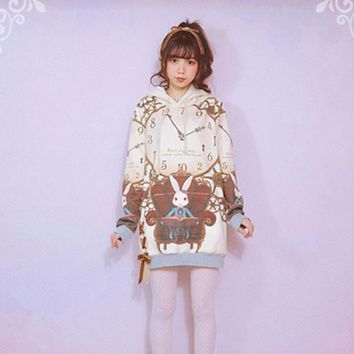 7 Patters Alice in wonderland Styles Cat Bunny Unicorn Strawberry Sheep Cartoon Printed Thick Autumn Fleece Lined Women Pullover