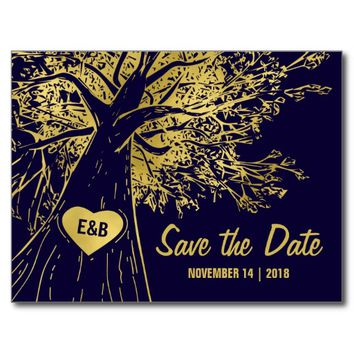 RUSTIC COUNTRY SAVE THE DATE | NAVY FAUX GOLD POSTCARD