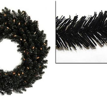 6' Pre-Lit Black Ashley Spruce Artificial Christmas Wreath - Clear Lights