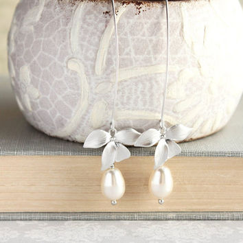 Orchid Flower Earrings Long Silver Dangle Cream Pearl Earrings Bridal Jewelry Bridemaids Gift Summer Fashion Nickel Free Romantic Wedding