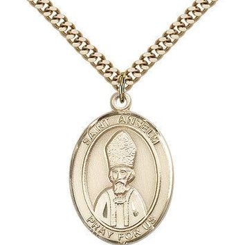 "Saint Anselm Of Canterbury Medal For Men - Gold Filled Necklace On 24"" Chain ... 617759341607"