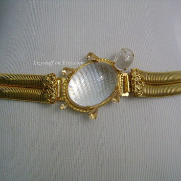 Vintage SCHREINER Clear Transparent Translucent Oval Domed Cabochon Glass Adorable Turtle Buckle Layered Double Gold T Snake Chain Coil Belt