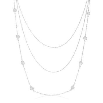 Carol Multi Chain Pave Disc Layered Necklace