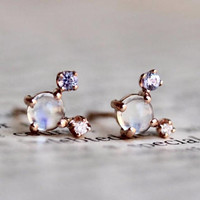 14K Moonstone Cluster Stud, Moonstone Diamond Tanzanite Earring, Gemstone Stud, Gold Earring,