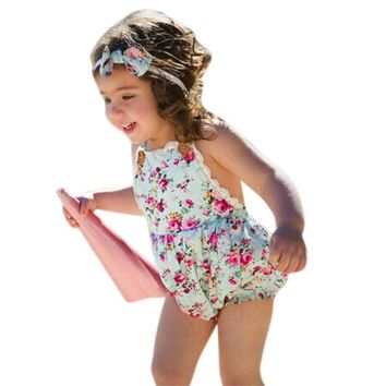 Rose Floral Printed Baby Romper ,Vintage Baby Girls playsuit ,Lace Floral printes Baby Swag Rompers baby girl clothes