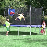 Skywalker Trampolines Jump N' Dunk Trampoline with Safety Enclosure and Basketball Hoop, Green, 15-Feet