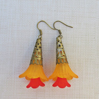 Orange Yellow Flower Drop Earrings, Hand Made Flower & Bead Earrings, Orange Yellow Flower, Dangle Drops, Seed Beads, Antique Bronze, Gift