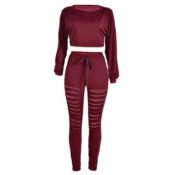 2017 Autumn Spring Casual Women suit set Long Sleeve Tracksuit Casual Bandage 2PCS Crop Tops Cut out Pants Bodycon Clubwear