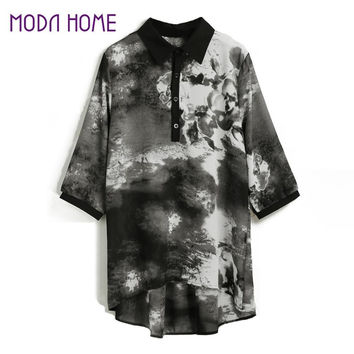 Women Chiffon Blouses Puls Size Painting Print Women Tops Button 34 Sleeve Vintage Casual Shirts XL-5XL Ropa Mujer SM6