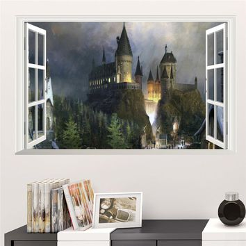 Magic Harry Potter Wall Stickers Poster 3D Window Hogwarts Decorative Wall Decals Wizarding World School For Kids Bedroom Decal