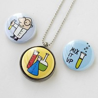 Handmade Gifts   Independent Design   Vintage Goods 3-in-1 Necklace Set - Science Experiment Trio - Girls