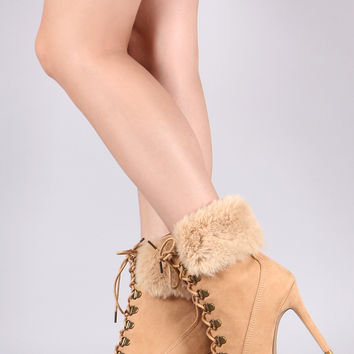 Faux Fur Stiletto Ankle Boots | UrbanOG