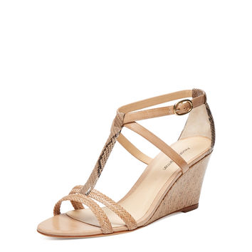 Mid Wedge Python & Leather T-Strap Sandal
