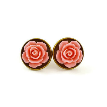Pink rose earrings, rose cameo earrings, bronze earrings, flower earrings, pink earrings, rockabilly jewellery, alternative, cute earrings