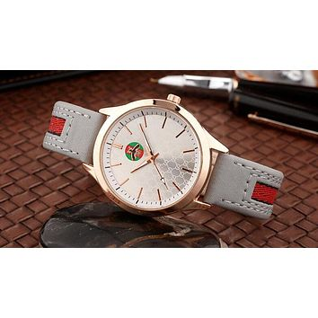 GUCCI Trending Women Men Stylish Bee Stripe Movement Watch Lovers Wrist Watch Grey I12598-1
