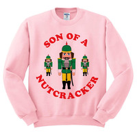 Pink Crewneck Son Of A Nutcracker Ugly Christmas Sweatshirt Sweater Jumper Pullover