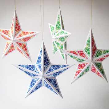 DIY Christmas star ornaments- Set of 6 printable templates | Christmas tree decoration A4 size, Instant digital download PDF | 3D papercraft