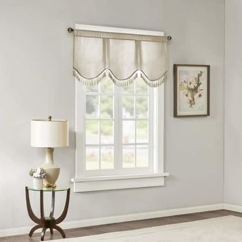 Madison Park Laverne Faux Silk Solid 3 Tier Scallop Embellished Lined Valance | Overstock.com Shopping - The Best Deals on Valances