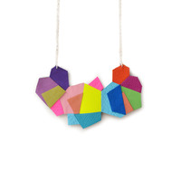 Geometric Statement Necklace, Rainbow Polygon Facets | Boo and Boo Factory - Handmade Leather Jewelry