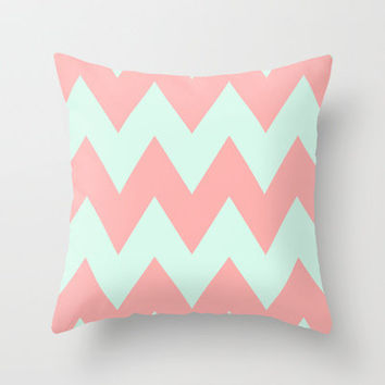Big Chevron (Coral & Mint) Throw Pillow by daniellebourland