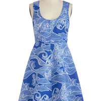 Plenty by Tracy Reese Nautical Mid-length Sleeveless A-line Plenty by Tracy Reese Waves and Means Dress