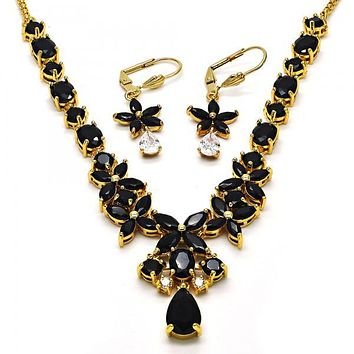 Gold Layered Necklace and Earring, Flower and Teardrop Design, with Cubic Zirconia, Golden Tone
