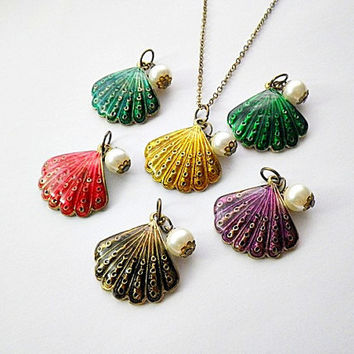 colorful enamelled clam shell with faux pearl pendant necklace