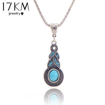 17KM Crystal Tibetan rhinestone cross Geometric round Jewelry Charming Blue Stone infinity pendant necklace jewelry
