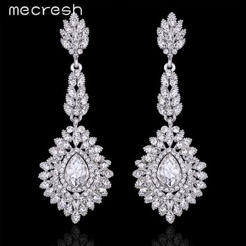 Mecresh Elegant Teardrop Crystal Wedding Long Earrings for Women Prom Party Jewelry for Brides Bridesmaid EH192