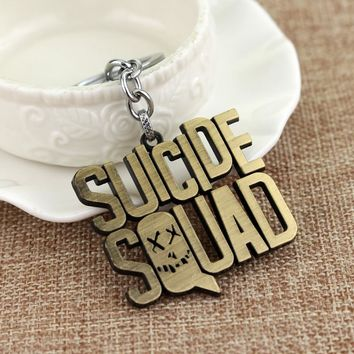 RJ Fashion Suicide Squad Keyring Silver And Bronze Letter Suicide Squad Logo Metal Keychain Gift For Men And Women