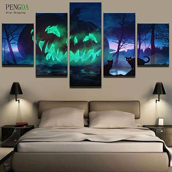 PENGDA HD Print Canvas Painting On 5 Panel Modular Pictures Landscape Oil Paintings Wall For Living Room Cuadros Frames Picture