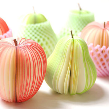 Fresh Fruit kawaii Memos Red Apples Green Pears Paper Sweet Post Note Pad cute School stationery Cute memo Special designed funny Gift