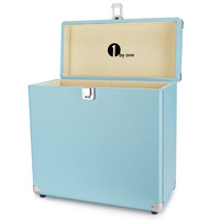 Vinyl Record Storage Case for 30 Albums, Blue