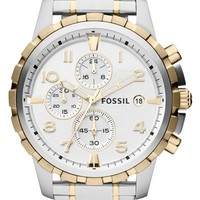 Men's Fossil Notched Bezel Chronograph Bracelet Watch, 45mm