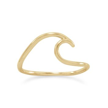 14 Karat Gold Plated Wave Ring