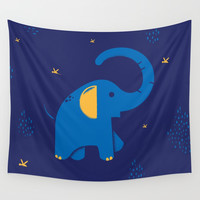 Blue Elephant with Texture Illustration Wall Tapestry by Creative Break