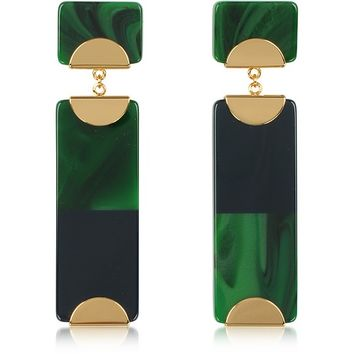 Tory Burch Resin Color-Block Drop Earrings w/Goldtone Metal