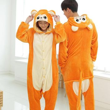Orange Monkey Pajama Set Women Men Unisex Adult Animal Pijama Flannel Onesuit Cosplay Sleepwear Hoodie Halloween Holiday Costume