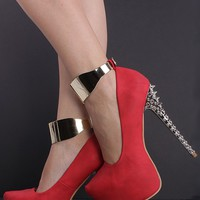 RED NUBUCK FAUX LEATHER ALMOND HIDDEN PLATFORM SPIKY ANKLE STRAP HEEL PUMPS