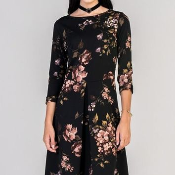 Falling Leaves Black Dress