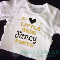 Little miss fancy pants baby shirt, gold black glitter baby shirt, sparkly shirt, Heart take home outfit, Baby Gift, Baby girl Clothes