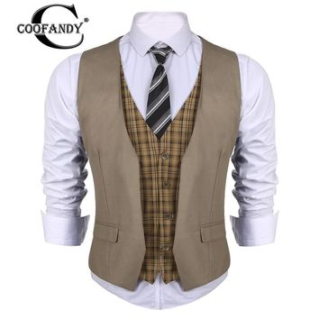 COOFANDY New Arrivals Business Style Men V-Neck  Patchwork Slim Fit 4-Button Business Suit Vest US Size