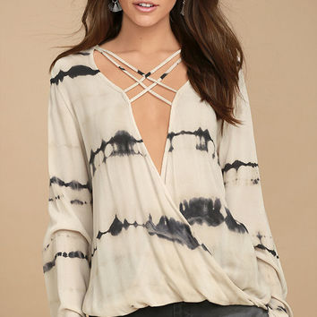California Current Beige Tie-Dye Long Sleeve Top