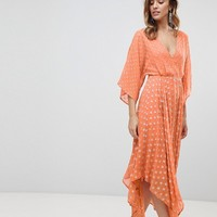 ASOS Flutter Sleeve Midi Dress with Hanky Hem in Glitter Spot at asos.com